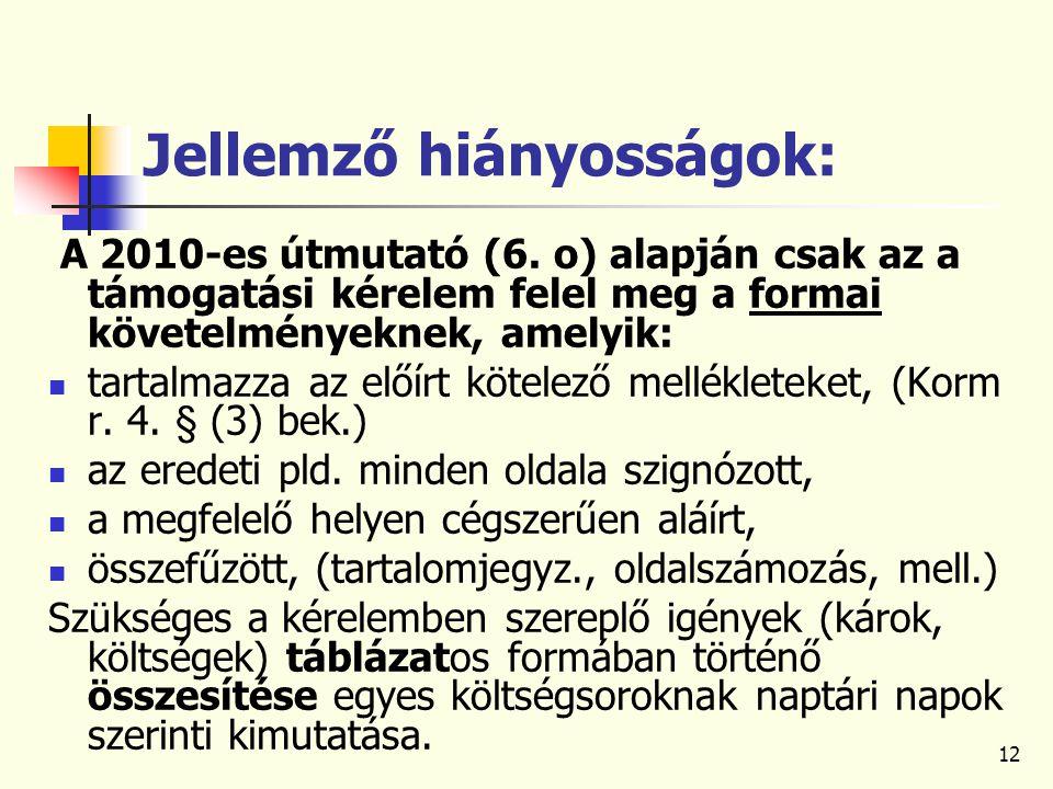 12 Jellemző hiányosságok: A 2010-es útmutató (6.