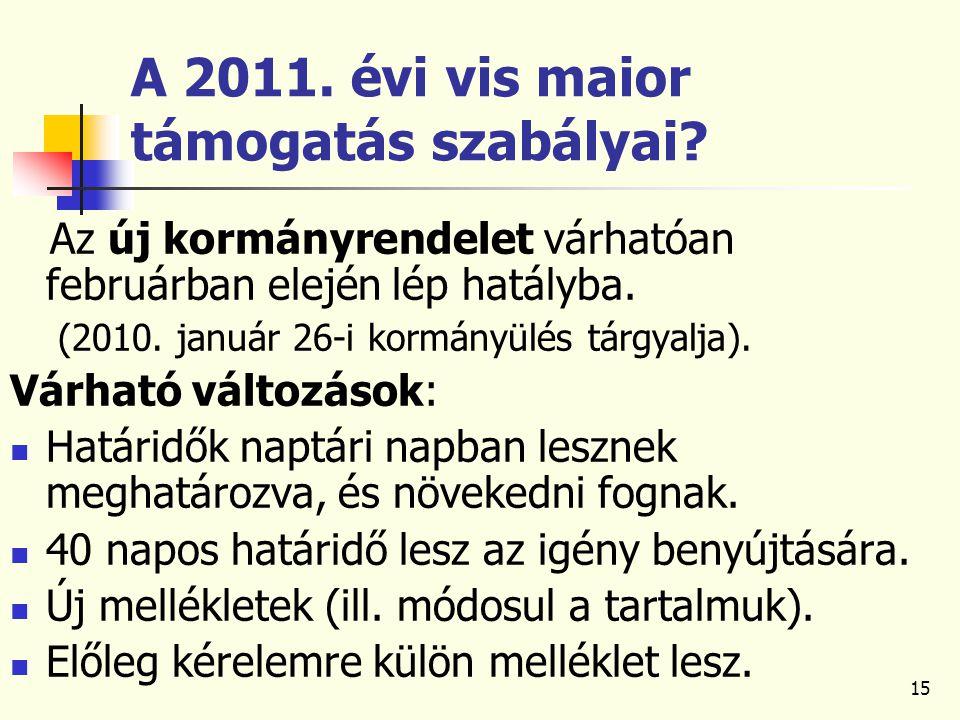 15 A 2011. évi vis maior támogatás szabályai.