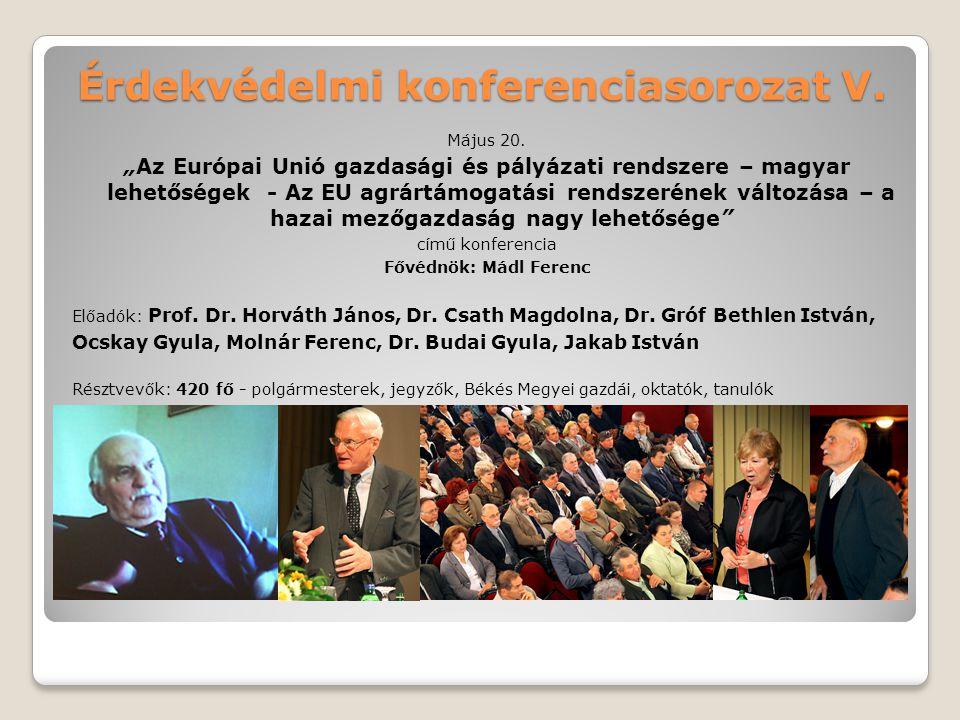 """Érdekvédelmi konferenciasorozat V. Május 20. """"Az Európai Unió gazdasági és pályázati rendszere – magyar lehetőségek - Az EU agrártámogatási rendszerén"""