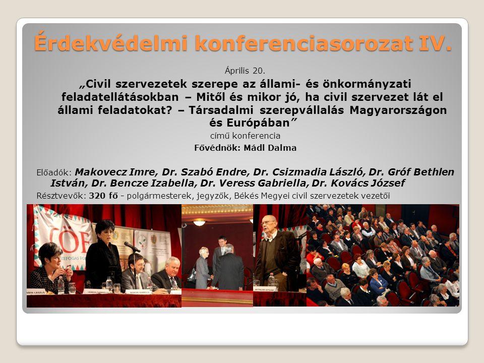 """Érdekvédelmi konferenciasorozat IV. Április 20. """"Civil szervezetek szerepe az állami- és önkormányzati feladatellátásokban – Mitől és mikor jó, ha civ"""