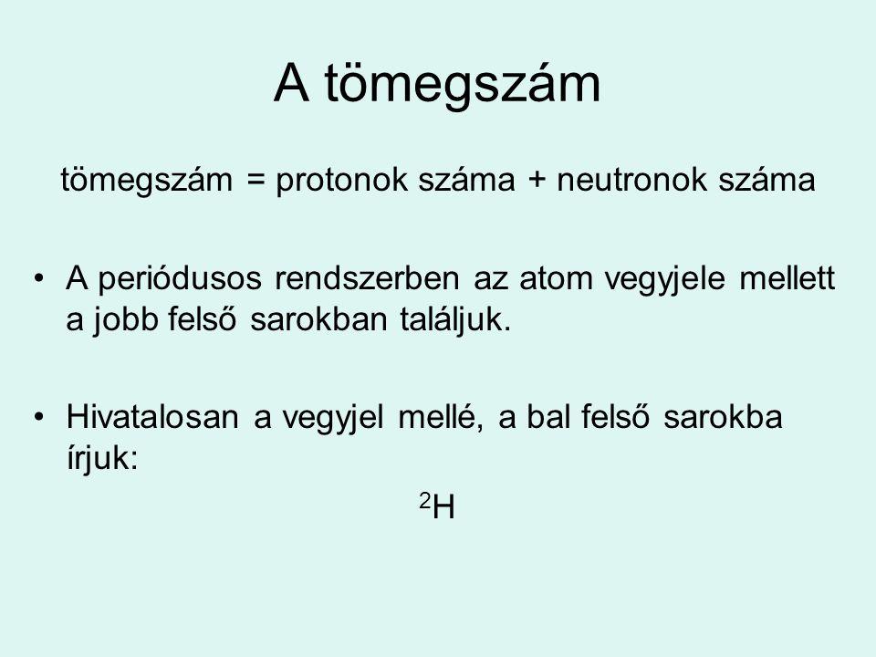 A tömegszám tömegszám = protonok száma + neutronok száma A periódusos rendszerben az atom vegyjele mellett a jobb felső sarokban találjuk. Hivatalosan