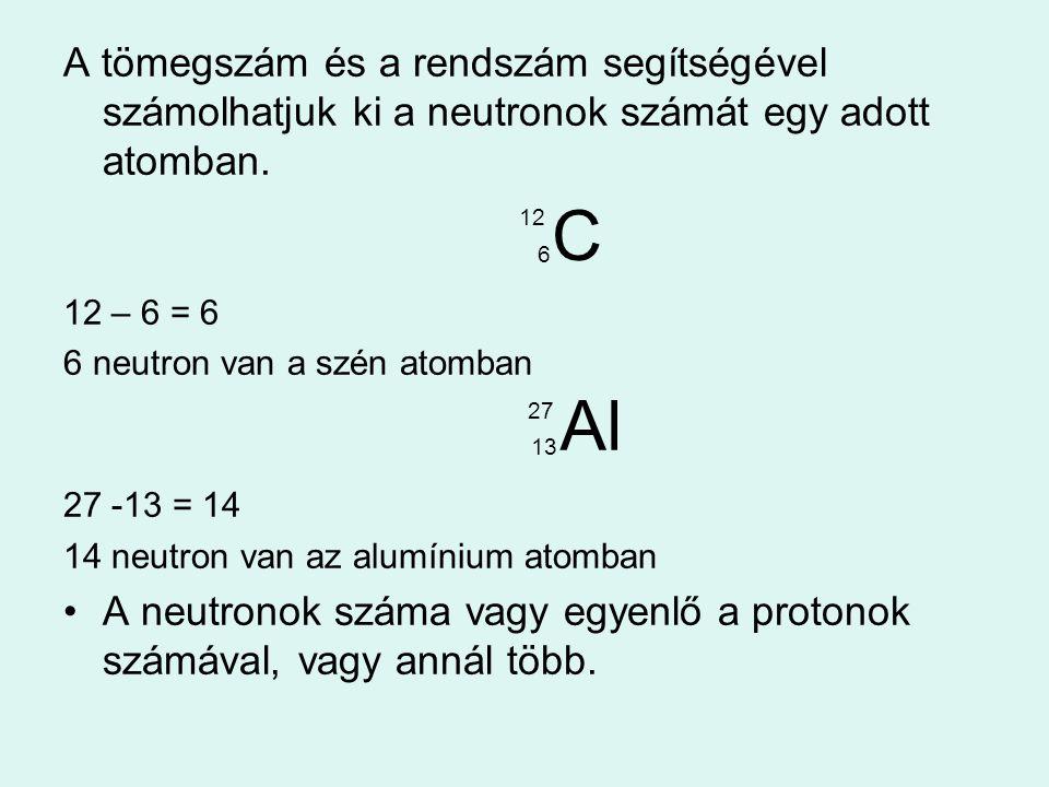 A tömegszám és a rendszám segítségével számolhatjuk ki a neutronok számát egy adott atomban. 12 6 12 – 6 = 6 6 neutron van a szén atomban 27 13 27 -13