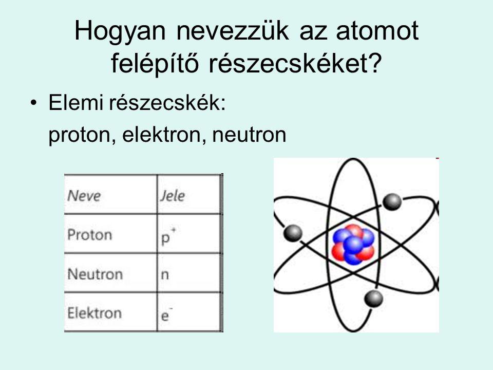 Hogyan nevezzük az atomot felépítő részecskéket? Elemi részecskék: proton, elektron, neutron