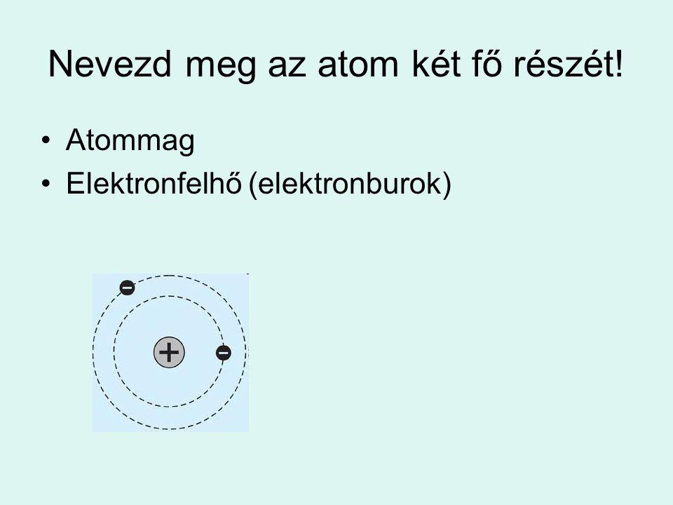 Nevezd meg az atom két fő részét! Atommag Elektronfelhő (elektronburok)