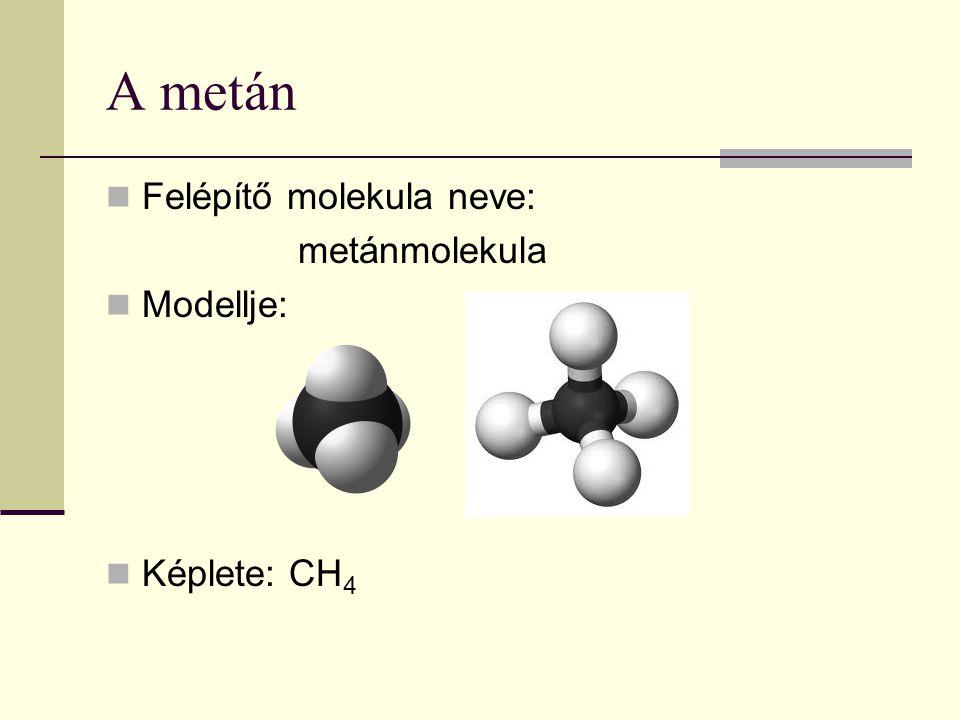 A metán Felépítő molekula neve: metánmolekula Modellje: Képlete: CH 4