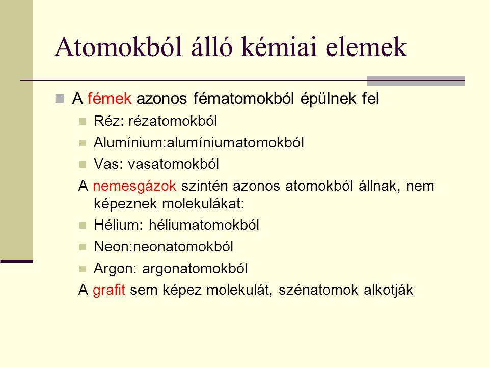 Elemmolekulákból álló kémiai elemek Csak néhány atom képes elemmolekula kialakítására.