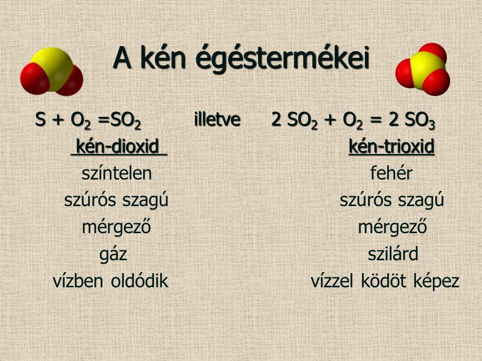 A kén égéstermékei S + O 2 =SO 2 illetve 2 SO 2 + O 2 = 2 SO 3 S + O 2 =SO 2 illetve 2 SO 2 + O 2 = 2 SO 3 kén-dioxid kén-trioxid kén-dioxid kén-triox