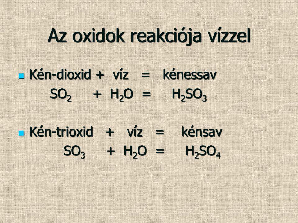 Az oxidok reakciója vízzel Kén-dioxid + víz = kénessav Kén-dioxid + víz = kénessav SO 2 + H 2 O = H 2 SO 3 SO 2 + H 2 O = H 2 SO 3 Kén-trioxid + víz =