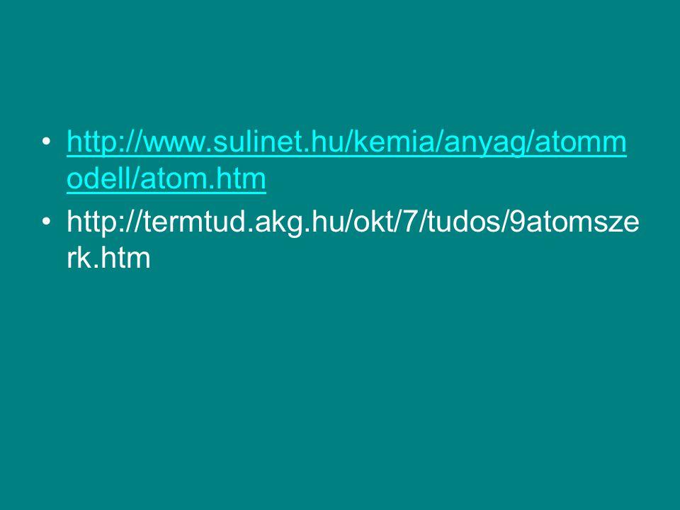 http://www.sulinet.hu/kemia/anyag/atomm odell/atom.htmhttp://www.sulinet.hu/kemia/anyag/atomm odell/atom.htm http://termtud.akg.hu/okt/7/tudos/9atomsz