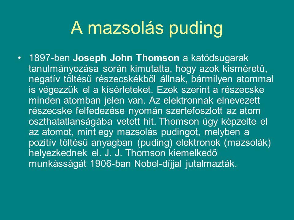 A mazsolás puding 1897-ben Joseph John Thomson a katódsugarak tanulmányozása során kimutatta, hogy azok kisméretű, negatív töltésű részecskékből állna