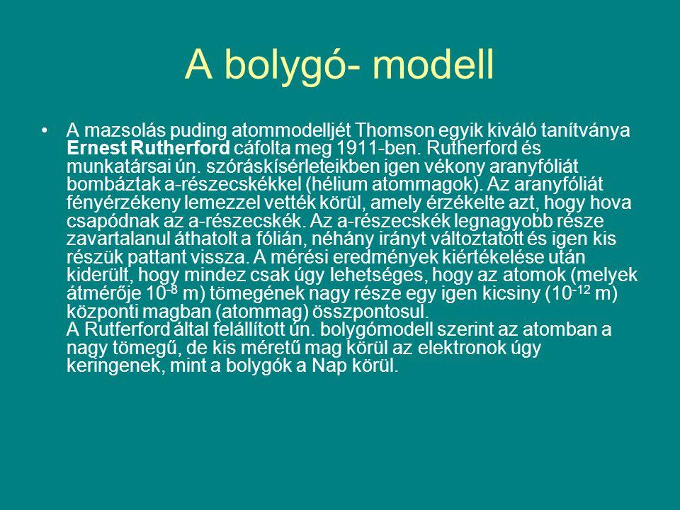 A bolygó- modell A mazsolás puding atommodelljét Thomson egyik kiváló tanítványa Ernest Rutherford cáfolta meg 1911-ben. Rutherford és munkatársai ún.