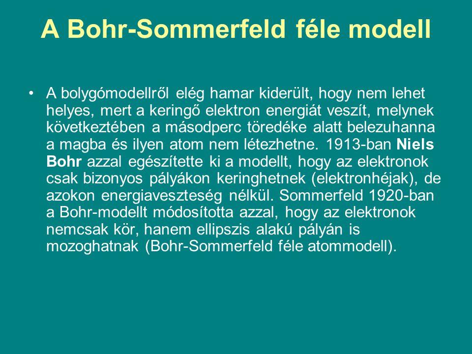 A Bohr-Sommerfeld féle modell A bolygómodellről elég hamar kiderült, hogy nem lehet helyes, mert a keringő elektron energiát veszít, melynek következt