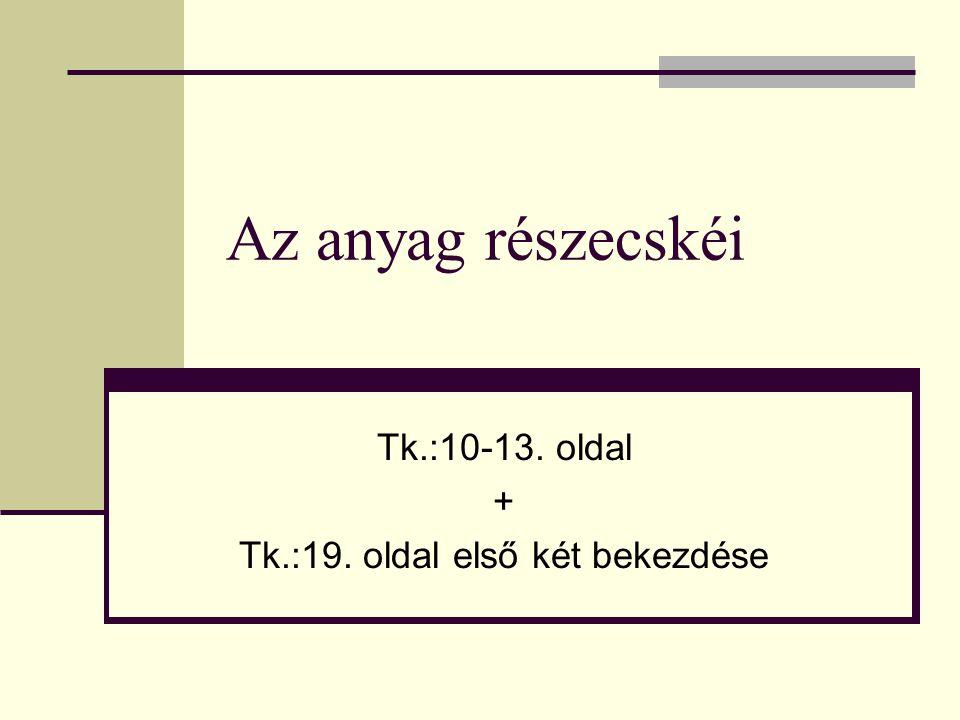 Az anyag részecskéi Tk.:10-13. oldal + Tk.:19. oldal első két bekezdése