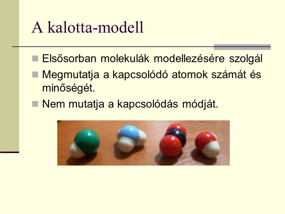 A kalotta-modell Elsősorban molekulák modellezésére szolgál Megmutatja a kapcsolódó atomok számát és minőségét. Nem mutatja a kapcsolódás módját.