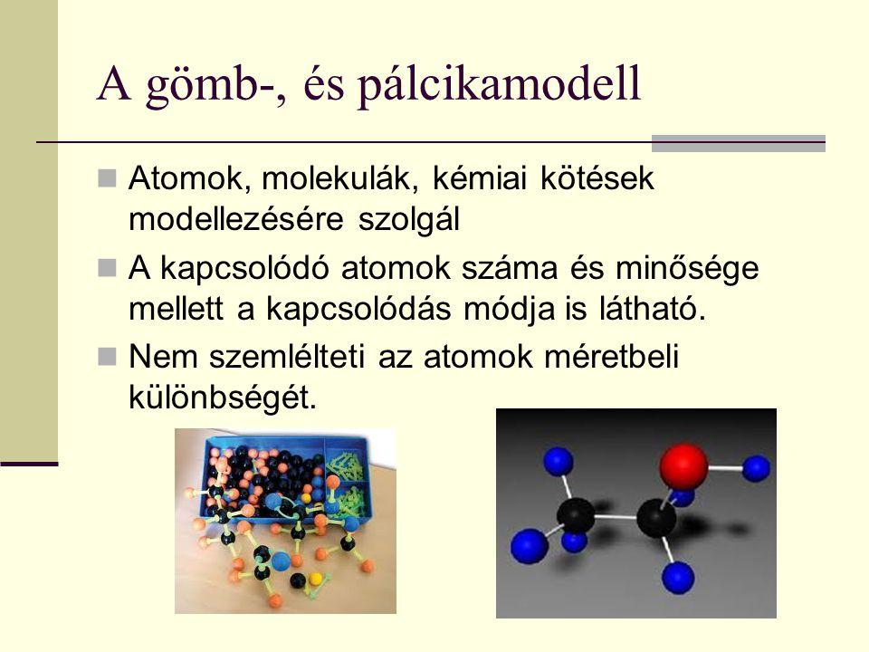 A gömb-, és pálcikamodell Atomok, molekulák, kémiai kötések modellezésére szolgál A kapcsolódó atomok száma és minősége mellett a kapcsolódás módja is