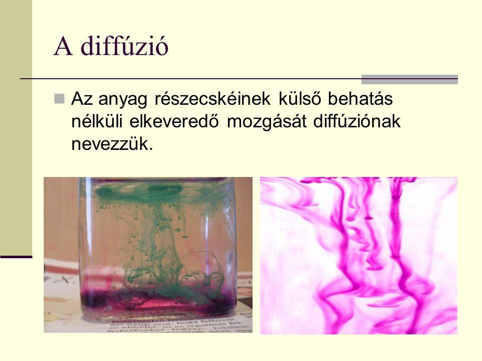 A diffúzió Az anyag részecskéinek külső behatás nélküli elkeveredő mozgását diffúziónak nevezzük.