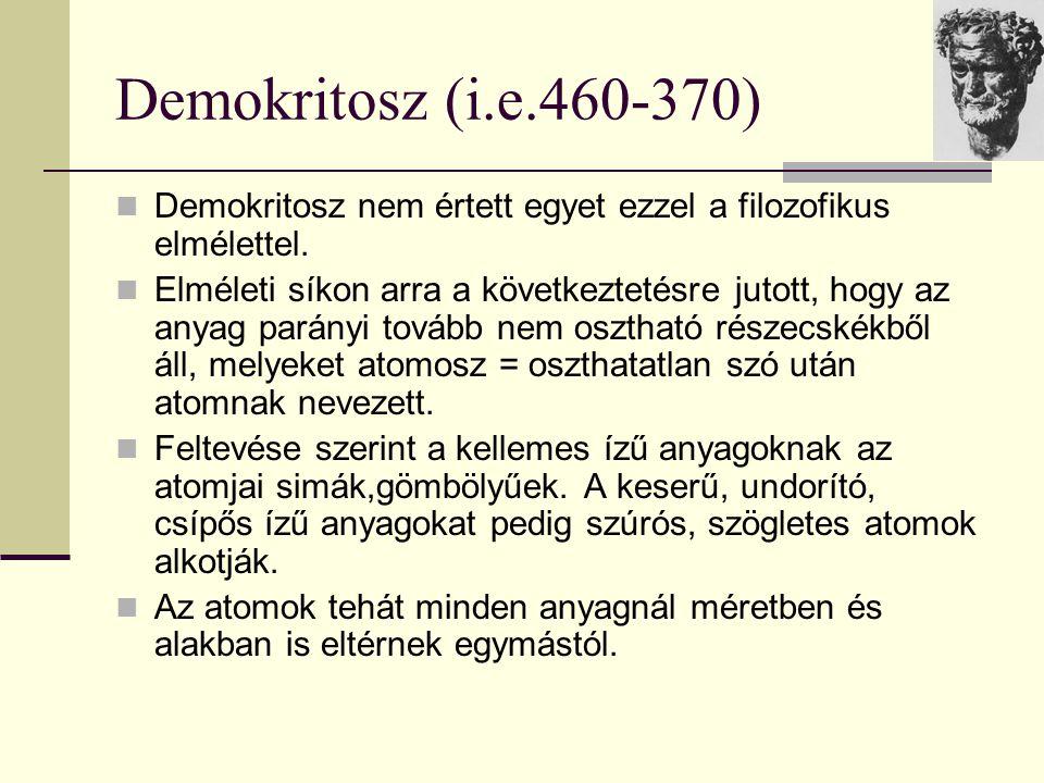 Demokritosz (i.e.460-370) Demokritosz nem értett egyet ezzel a filozofikus elmélettel. Elméleti síkon arra a következtetésre jutott, hogy az anyag par