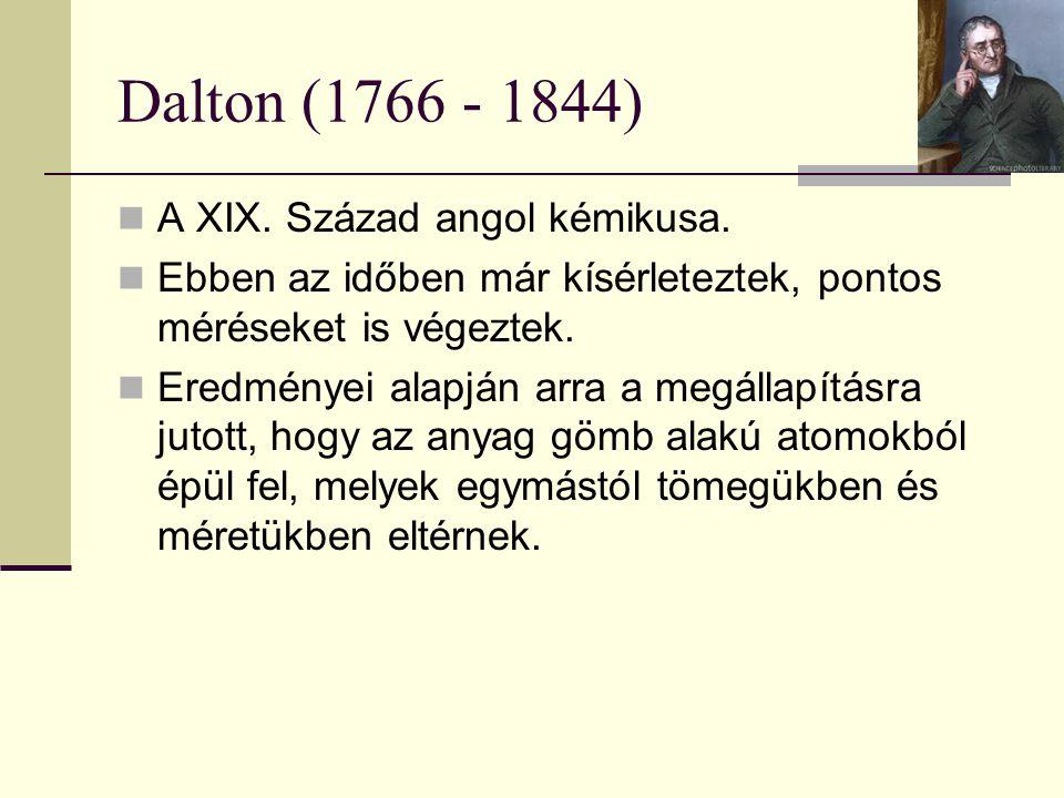 Dalton (1766 - 1844) A XIX. Század angol kémikusa. Ebben az időben már kísérleteztek, pontos méréseket is végeztek. Eredményei alapján arra a megállap