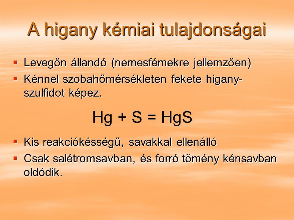 A higany kémiai tulajdonságai  Levegőn állandó (nemesfémekre jellemzően)  Kénnel szobahőmérsékleten fekete higany- szulfidot képez.  Kis reakciókés