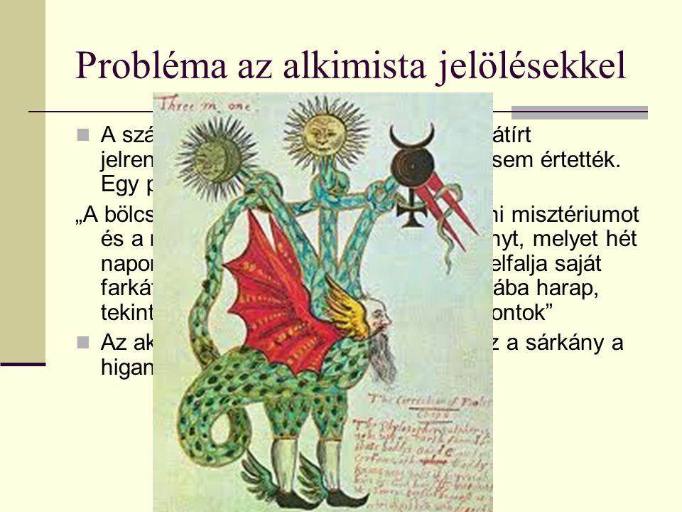 Probléma az alkimista jelölésekkel A számos misztikus leírás és többször átírt jelrendszert egy idő után az alkimisták sem értették.