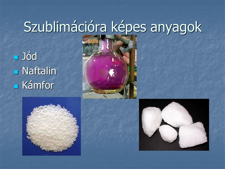 Szublimációra képes anyagok Jód Jód Naftalin Naftalin Kámfor Kámfor