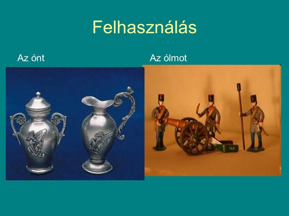 Felhasználás Az ónt Használati tárgyak Dísztárgyak Pénzérmék Konzervesdobozok bevonására használjuk Régen csomagolófóliát is készítettek belőle (sztan
