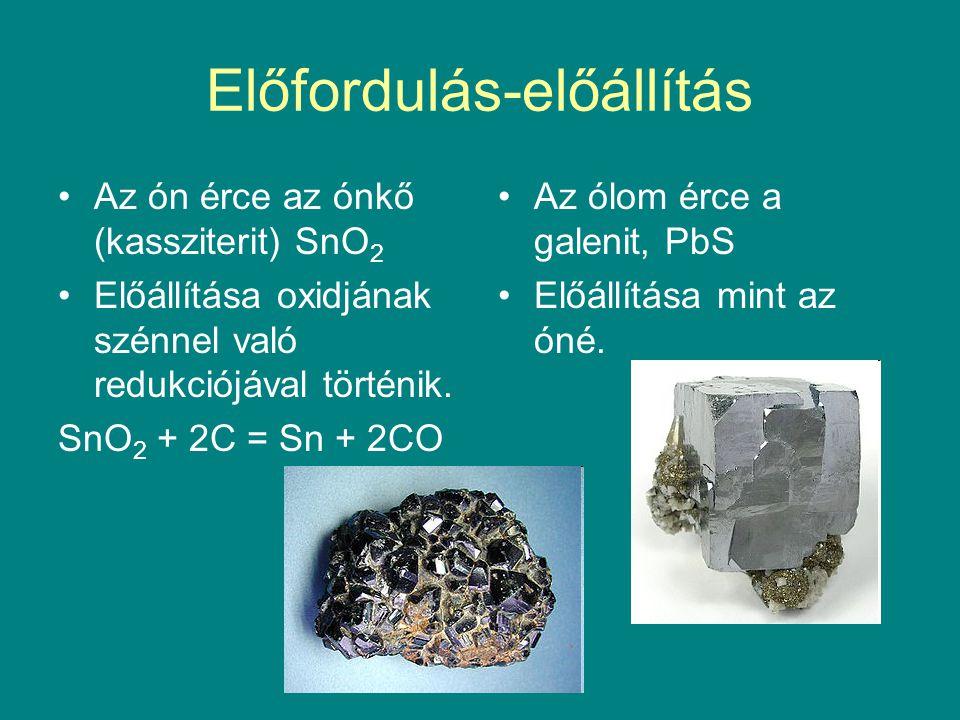 Előfordulás-előállítás Az ón érce az ónkő (kassziterit) SnO 2 Előállítása oxidjának szénnel való redukciójával történik. SnO 2 + 2C = Sn + 2CO Az ólom