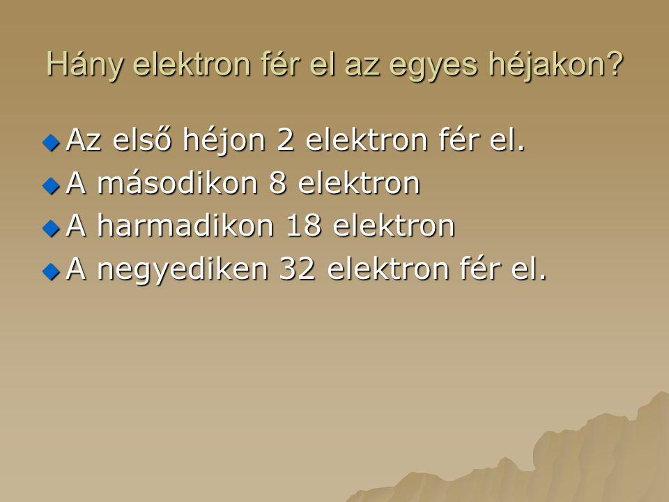 Hány elektron fér el az egyes héjakon?  Az első héjon 2 elektron fér el.  A másodikon 8 elektron  A harmadikon 18 elektron  A negyediken 32 elektr