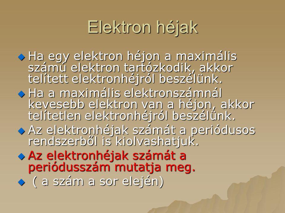 Elektron héjak  Ha egy elektron héjon a maximális számú elektron tartózkodik, akkor telített elektronhéjról beszélünk.  Ha a maximális elektronszámn