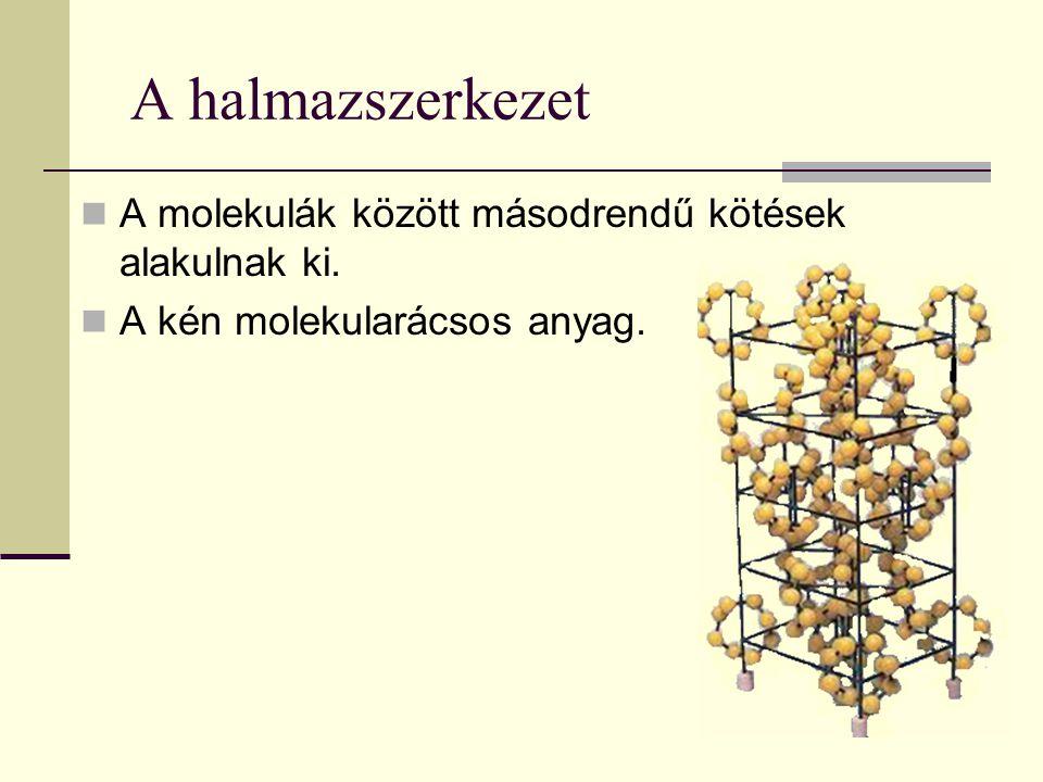 A halmazszerkezet A molekulák között másodrendű kötések alakulnak ki. A kén molekularácsos anyag.