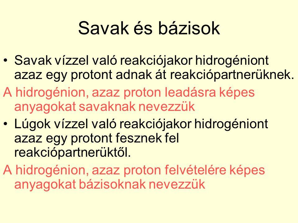 Savak és bázisok Savak vízzel való reakciójakor hidrogéniont azaz egy protont adnak át reakciópartnerüknek. A hidrogénion, azaz proton leadásra képes