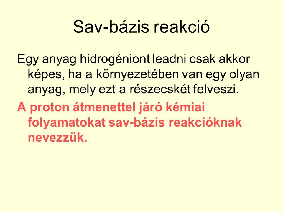 Sav-bázis reakció Egy anyag hidrogéniont leadni csak akkor képes, ha a környezetében van egy olyan anyag, mely ezt a részecskét felveszi. A proton átm