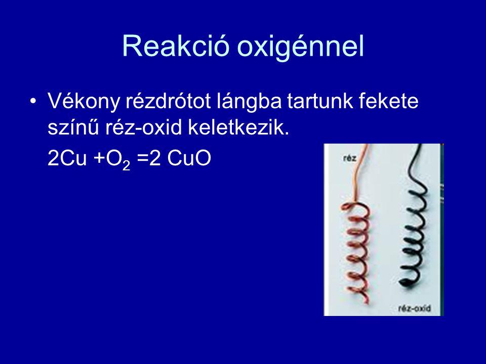 Reakció oxigénnel Vékony rézdrótot lángba tartunk fekete színű réz-oxid keletkezik. 2Cu +O 2 =2 CuO