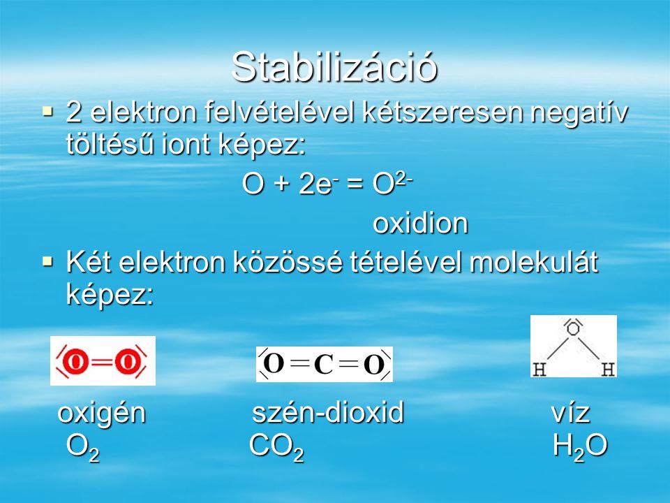 Stabilizáció  2 elektron felvételével kétszeresen negatív töltésű iont képez: O + 2e - = O 2- O + 2e - = O 2- oxidion oxidion  Két elektron közössé