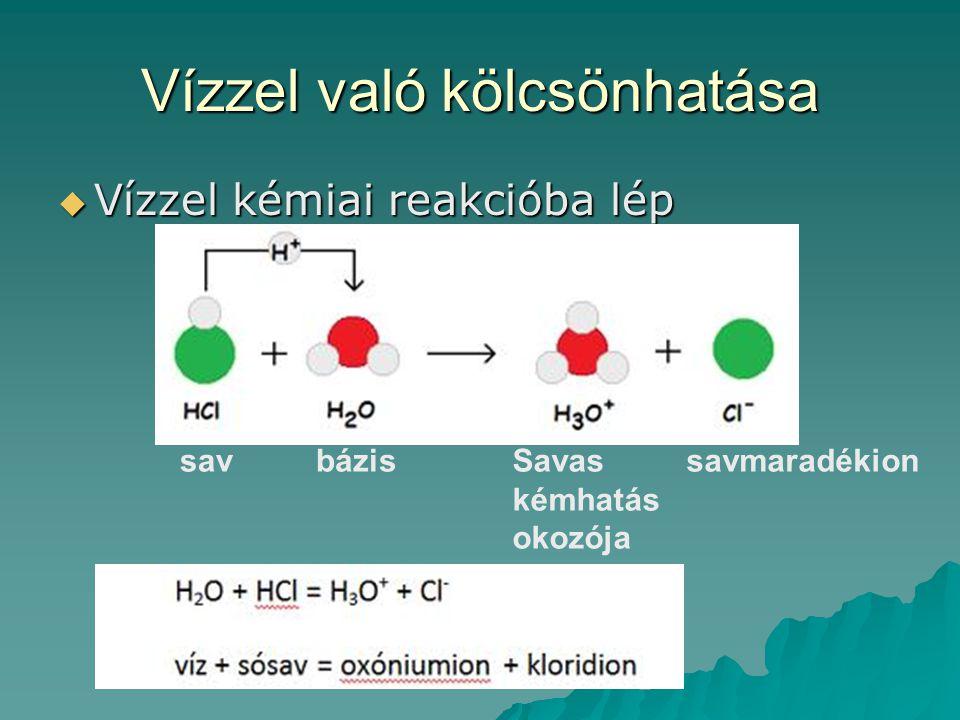 Vízzel való kölcsönhatása  Vízzel kémiai reakcióba lép savbázisSavas kémhatás okozója savmaradékion