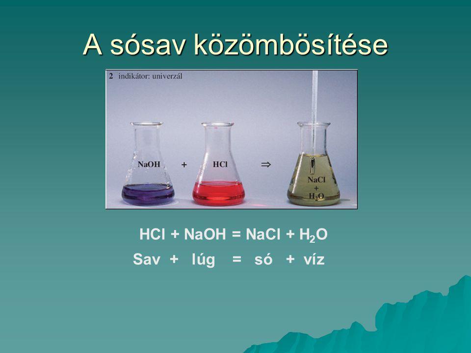 A sósav közömbösítése HCl + NaOH = NaCl + H 2 O Sav + lúg = só + víz