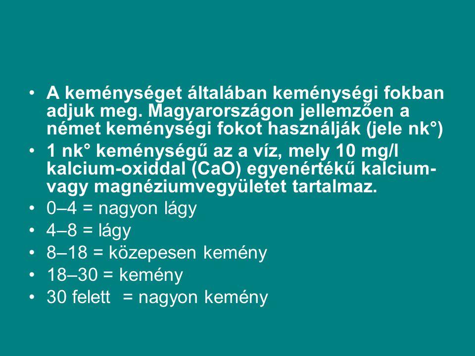 A keménységet általában keménységi fokban adjuk meg. Magyarországon jellemzően a német keménységi fokot használják (jele nk°) 1 nk° keménységű az a ví