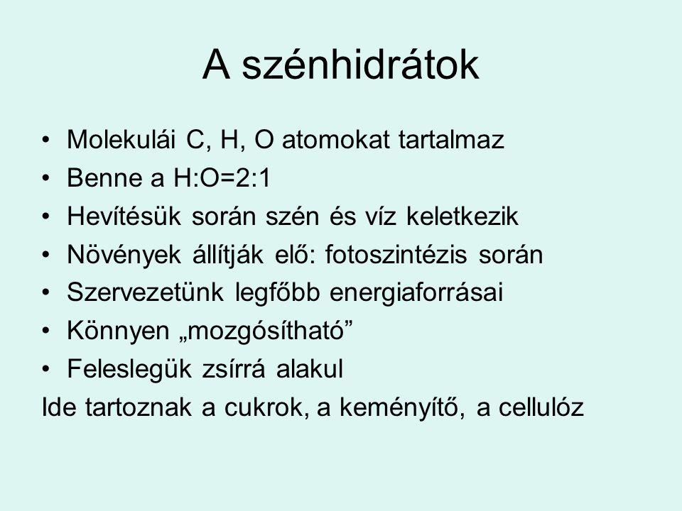 A szénhidrátok Molekulái C, H, O atomokat tartalmaz Benne a H:O=2:1 Hevítésük során szén és víz keletkezik Növények állítják elő: fotoszintézis során