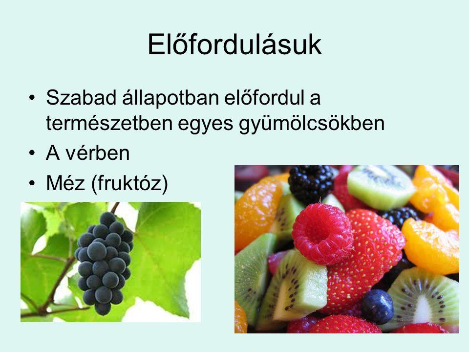 Előfordulásuk Szabad állapotban előfordul a természetben egyes gyümölcsökben A vérben Méz (fruktóz)