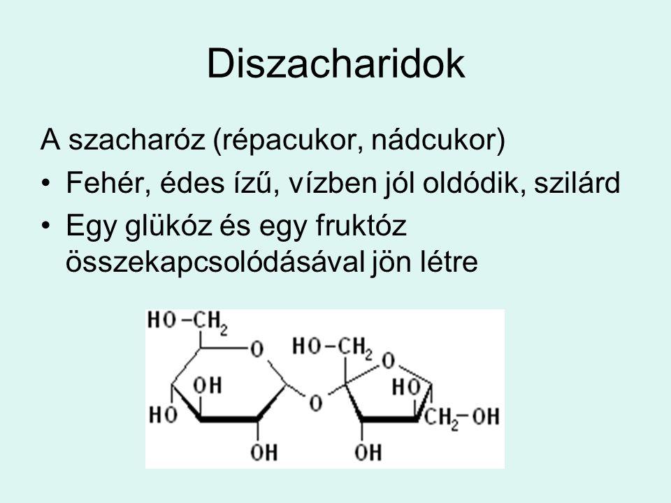 Diszacharidok A szacharóz (répacukor, nádcukor) Fehér, édes ízű, vízben jól oldódik, szilárd Egy glükóz és egy fruktóz összekapcsolódásával jön létre