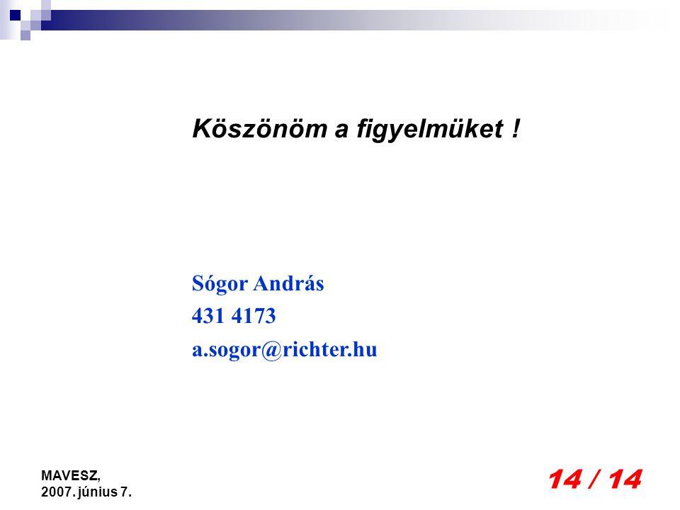 14 / 14 MAVESZ, 2007. június 7. Köszönöm a figyelmüket ! Sógor András 431 4173 a.sogor@richter.hu