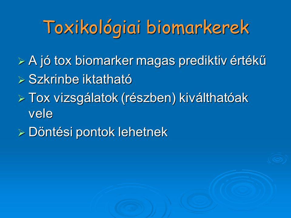Toxikológiai biomarkerek  A jó tox biomarker magas prediktiv értékű  Szkrinbe iktatható  Tox vizsgálatok (részben) kiválthatóak vele  Döntési pontok lehetnek