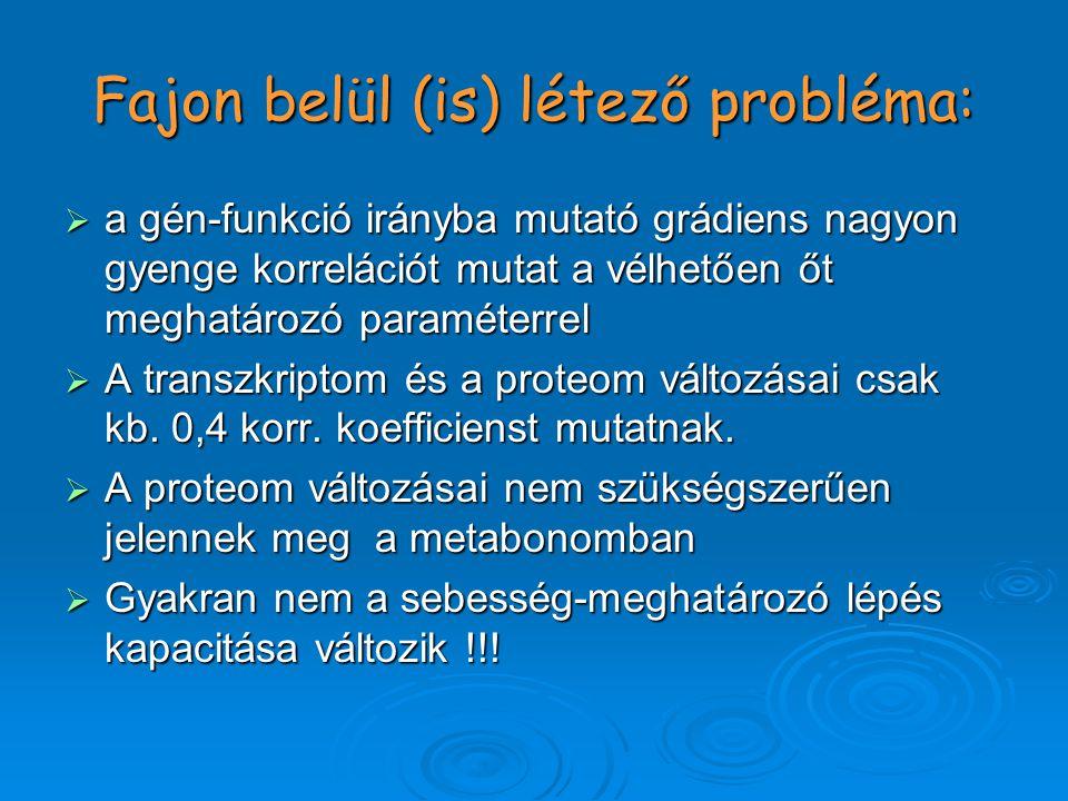 Fajon belül (is) létező probléma:  a gén-funkció irányba mutató grádiens nagyon gyenge korrelációt mutat a vélhetően őt meghatározó paraméterrel  A transzkriptom és a proteom változásai csak kb.