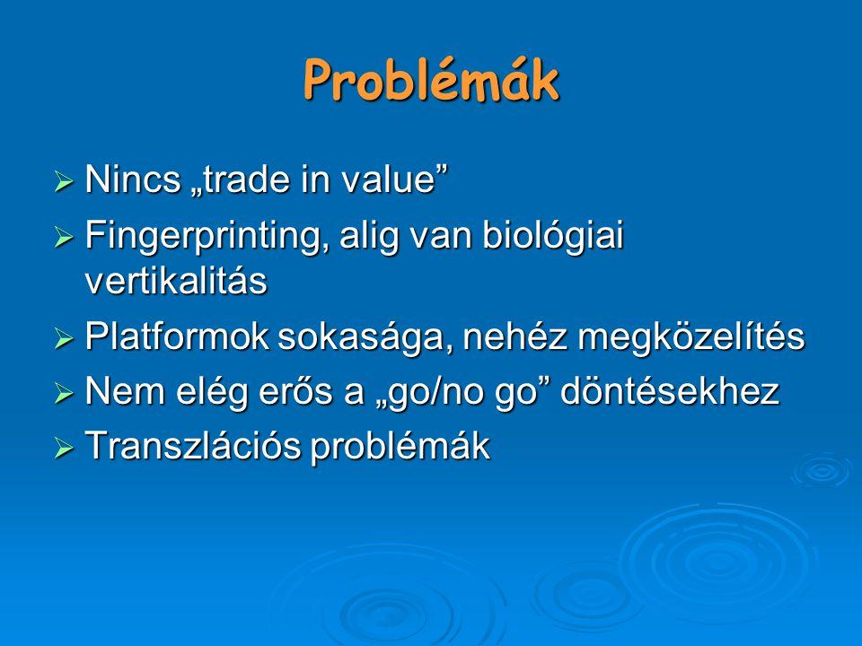 """Problémák  Nincs """"trade in value  Fingerprinting, alig van biológiai vertikalitás  Platformok sokasága, nehéz megközelítés  Nem elég erős a """"go/no go döntésekhez  Transzlációs problémák"""