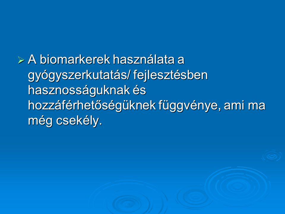  A biomarkerek használata a gyógyszerkutatás/ fejlesztésben hasznosságuknak és hozzáférhetőségüknek függvénye, ami ma még csekély.