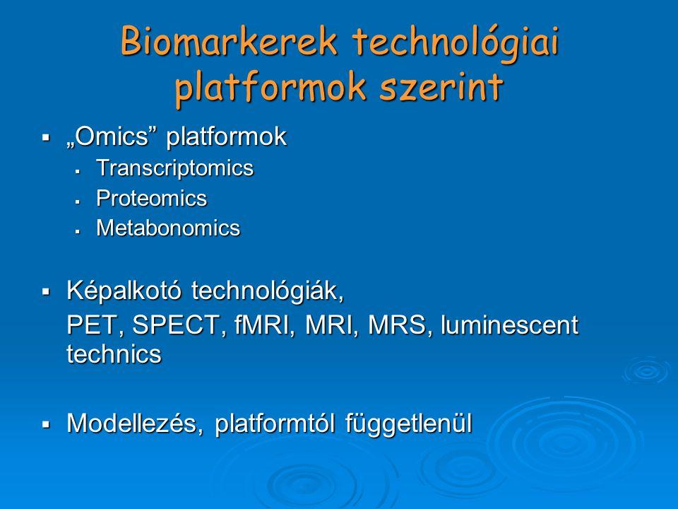 """Biomarkerek technológiai platformok szerint  """"Omics platformok  Transcriptomics  Proteomics  Metabonomics  Képalkotó technológiák, PET, SPECT, fMRI, MRI, MRS, luminescent technics  Modellezés, platformtól függetlenül"""