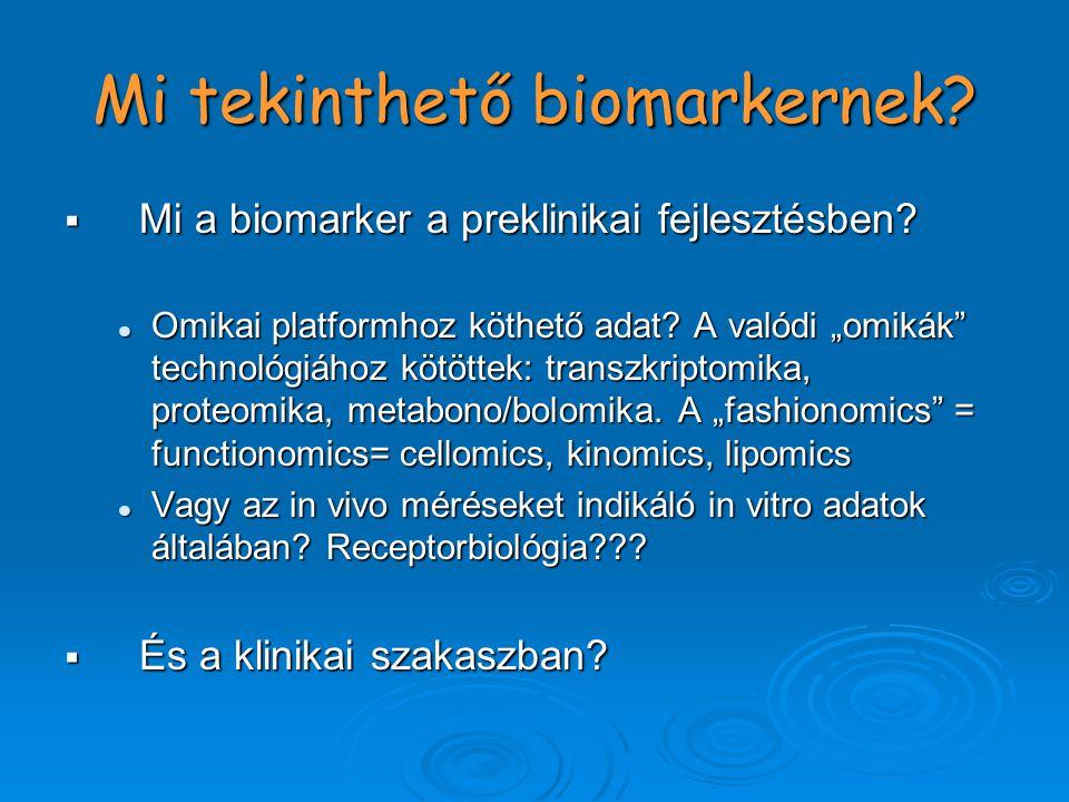 Mi tekinthető biomarkernek.  Mi a biomarker a preklinikai fejlesztésben.