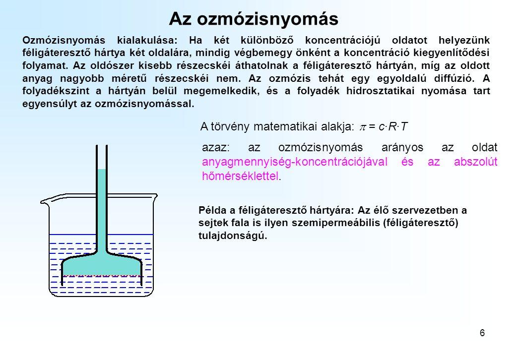 6 Az ozmózisnyomás Ozmózisnyomás kialakulása: Ha két különböző koncentrációjú oldatot helyezünk féligáteresztő hártya két oldalára, mindig végbemegy önként a koncentráció kiegyenlítődési folyamat.