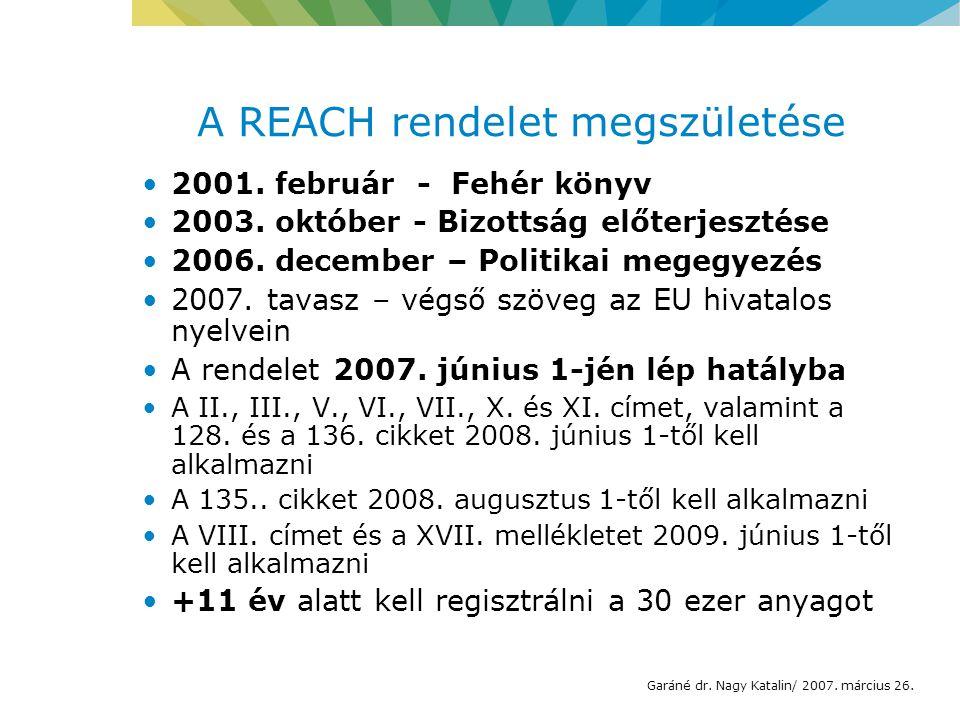 A REACH rendelet megszületése 2001. február - Fehér könyv 2003.