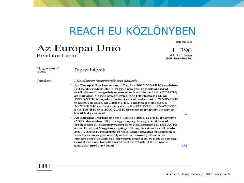 REACH EU KÖZLÖNYBEN Garáné dr. Nagy Katalin/ 2007. március 26.
